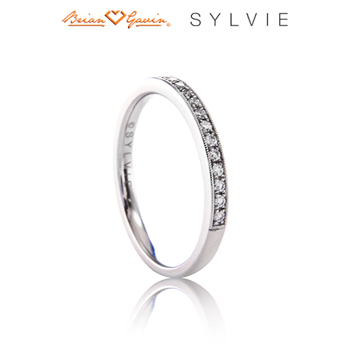 Classic Wedding Band with Milgrain Accents-14K White Gold